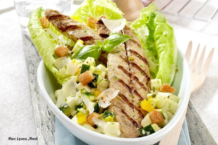 Grilled mackerel caesar salad