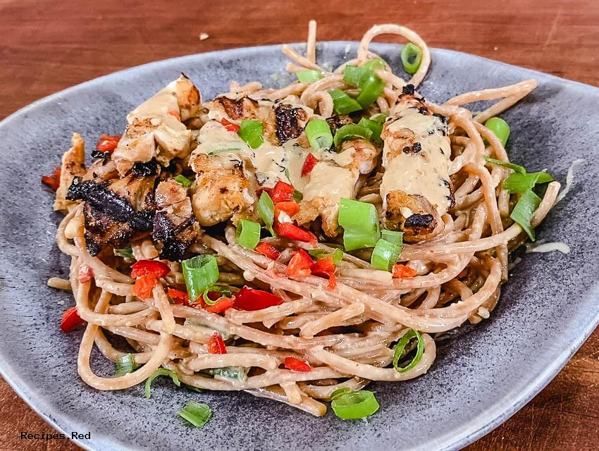 Grilled Chicken recipe & Peanut Noodle Salad