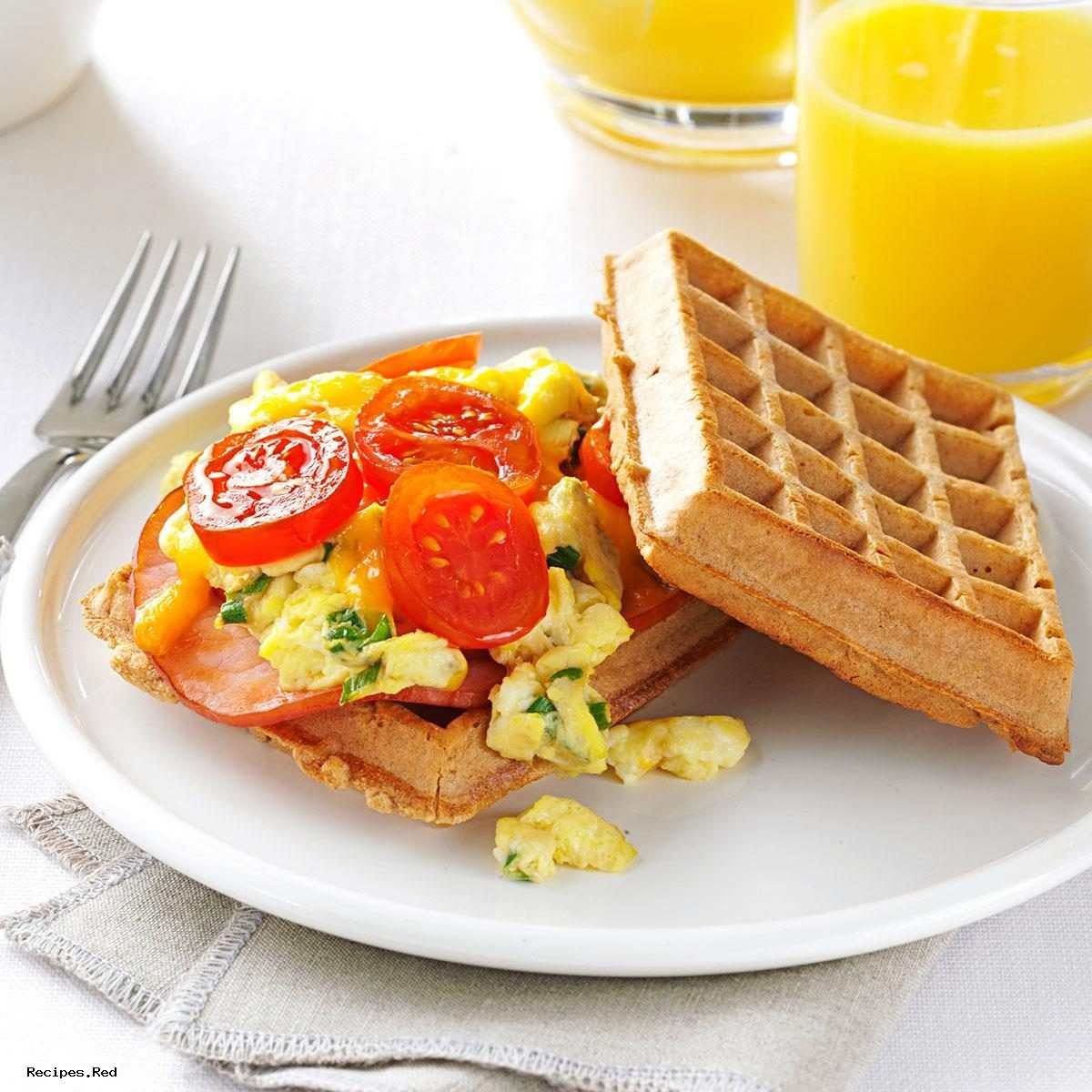 Waffle Sandwich : Dishes & Beverages, Sandwiches & Wraps, Breakfast Sandwiches, Easy Breakfast Ideas